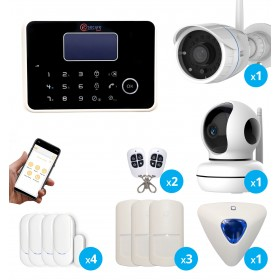 Alarme G6 sans fil GSM et RTC avec sirène déportée + caméras IP HD Wifi intérieure et extérieure - Maison T4
