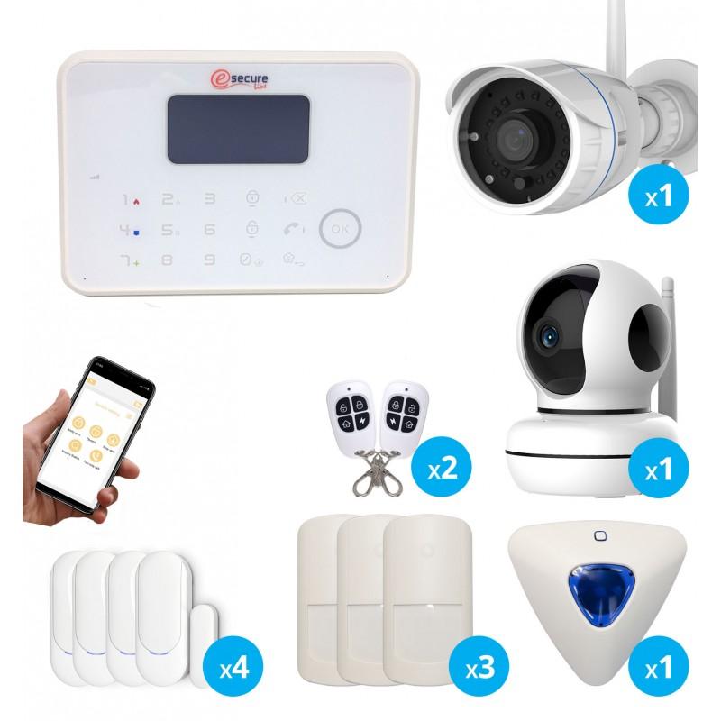 Alarme G6 sans fil GSM et RTC avec sirène déportés + caméras IP FULL HD Wifi intérieure et extérieure - Maison T4