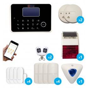 pack alarme avec sirene exterieure interieure et detecteurs de fumée