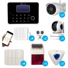 pack alarme sans fil GSM et RTC avec sirènes et cameras IP FULL HD wifi interieure extérieure wifi - Maison T4 / T5