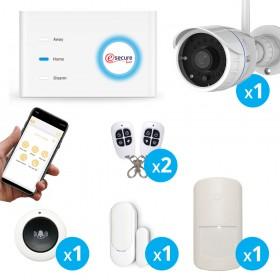 Pack alarme sans fil connecté GSM avec caméra extérieure FULL HD wifi - EsecureLine