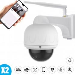 pack de deux cameras motorisées extérieures full hd avec micro zoom x4 wifi ip