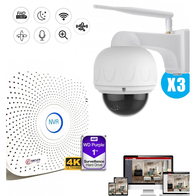 Kit de vidéosurveillance avec 3 caméras motorisées extérieures FULL HD WiFi