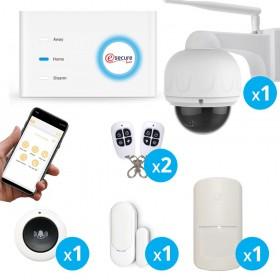 Pack alarme sans fil connecté GSM avec caméra extérieure motorisée FULL HD wifi - EsecureLine