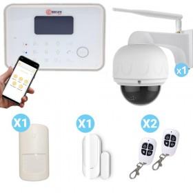 pack alarme G6 blanche et caméra dôme motorisé FULL HD connectée
