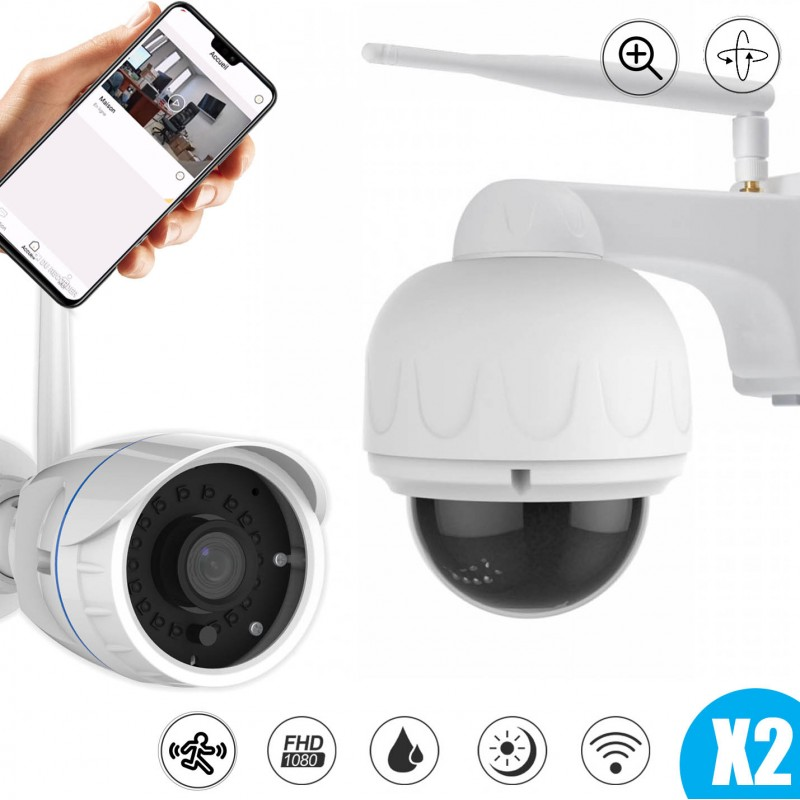 lot de deux caméras extérieures fixe et motorisée full hd avec vision nocturne