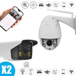 Pack de vidéo surveillance caméra flash et sirène et caméra motorisée