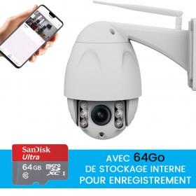 Caméra dôme extérieure motorisée full hd avec enregistrement sur carte SD 64go