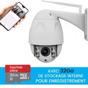 Caméra dôme extérieure motorisée full hd avec enregistrement sur carte SD 32go
