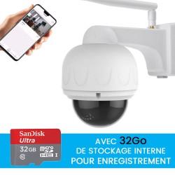 camera dome motorisée full hd avec zoom vision nocturne et detection de mouvement et enregistrement 32Go