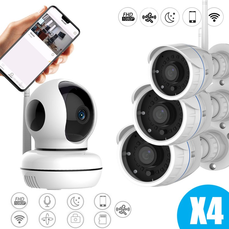 Kit caméras vidéosurveillance full hd pour l'intérieur et l'extérieur full hd connectées