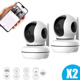 Lot de deux caméras intérieures full hd connectées avec intelligence artificielle