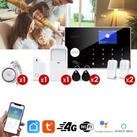 pack alarme tuya 4g et wifi avec detecteur mouvement ouverture et sirene interieure