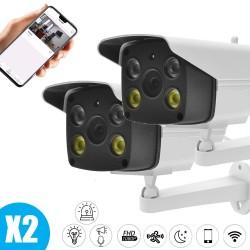 Pack vidéo surveillance 2 caméras full hd extérieur wifi pour maison