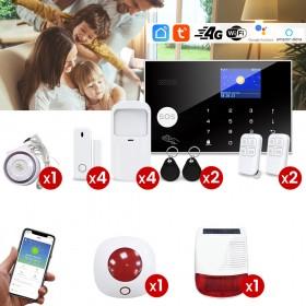 pack alarme tuya 4g et wifi avec detecteur mouvement ouverture, sirene interieure et extérieure