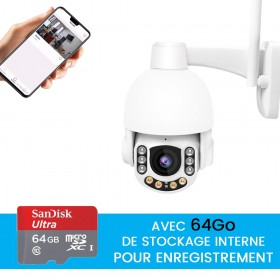 camera videoprotection exterieure avec stockage 64go