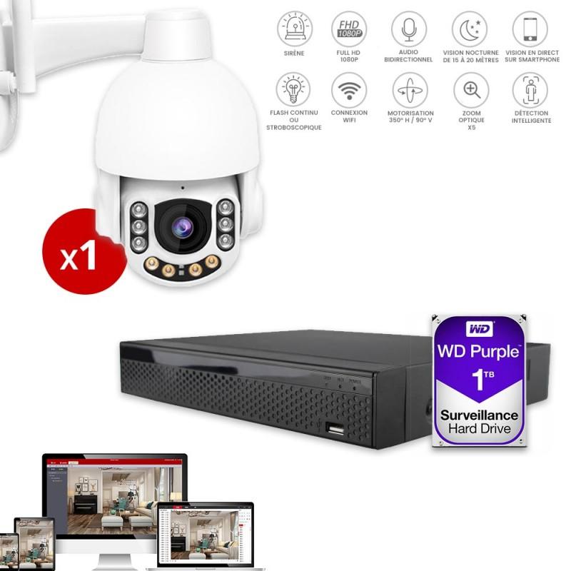 enregistreur video avec camera dome extérieure avec sirène et flash intégrés
