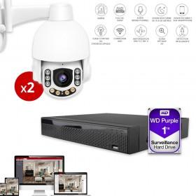 enregistreur video avec 2 cameras domes extérieures avec sirène et flash intégrés