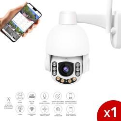 Lot de 2 caméras de surveillance extérieures dôme motorisée et fixe full HD avec sirène, flash et intelligence embarquée