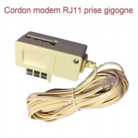 Cordon modem RJ11 prise gigogne longueur 5 mètres (780)