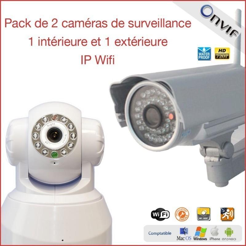 Pack De 2 Caméras De Surveillance IP Wifi Intérieur Et Extérieur (2288)