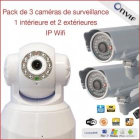 Pack de 3 caméras de surveillance IP wifi 1 intérieure et 2 extérieures  (2302)