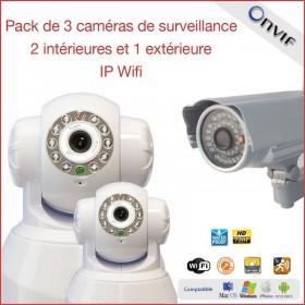 Pack de 3 caméras de surveillance IP wifi 2 intérieures et 1 extérieure  (2316)