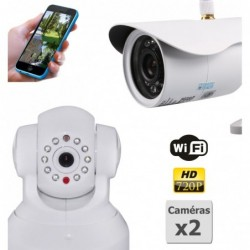 pack de deux camera de surveillance ip hd wifi interieur et exterieur (2885)