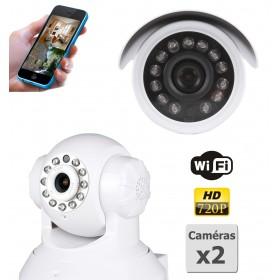 caméra de surveillance HD IP wifi exterieur alu blanc avec vision de nuit (2879)