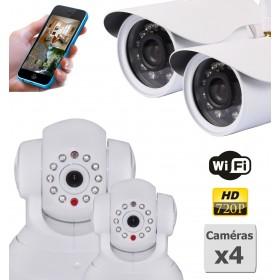pack de quatre cameras de surveillance ip hd wifi interieur et exterieur (2903)