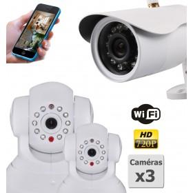 pack de trois camera de surveillance ip hd wifi interieur et exterieur (2917)
