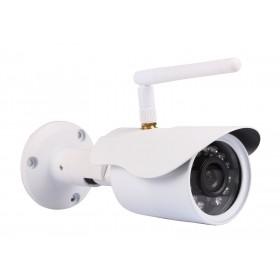 caméra de surveillance HD IP wifi exterieur alu blanc avec vision de nuit (2921)