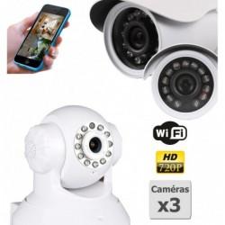 caméra de surveillance HD IP wifi exterieur alu blanc avec vision de nuit (2923)