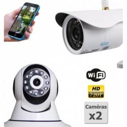 pack de deux camera de surveillance ip hd wifi interieur et exterieur (4398)