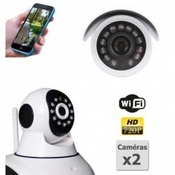 caméra de surveillance HD IP wifi exterieur alu blanc avec vision de nuit (4395)
