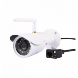 caméra de surveillance HD IP wifi exterieur alu blanc avec vision de nuit (4404)