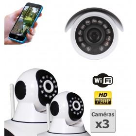pack de deux camera de surveillance ip hd wifi interieur et exterieur (4412)