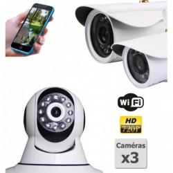 pack de deux camera de surveillance ip hd wifi interieur et exterieur (4426)