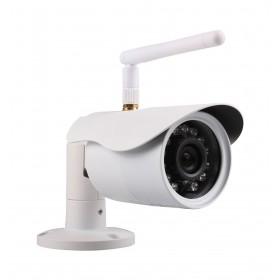 caméra de surveillance HD IP wifi exterieur alu blanc avec vision de nuit (4418)