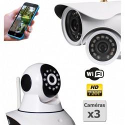 pack de deux camera de surveillance ip hd wifi interieur et exterieur (4422)