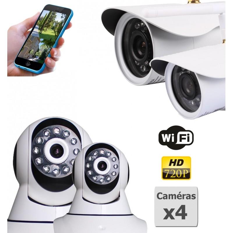 pack de deux camera de surveillance ip hd wifi interieur et exterieur (4438)