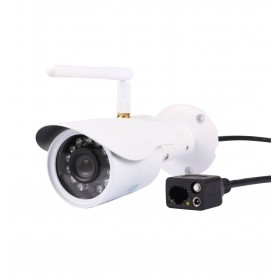 caméra de surveillance HD IP wifi exterieur alu blanc avec vision de nuit (4428)