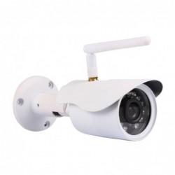 caméra de surveillance HD IP wifi exterieur alu blanc avec vision de nuit (4429)