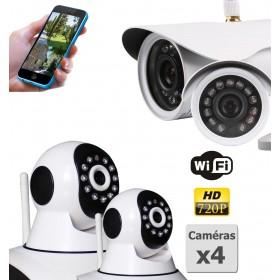 pack de deux camera de surveillance ip hd wifi interieur et exterieur (4436)