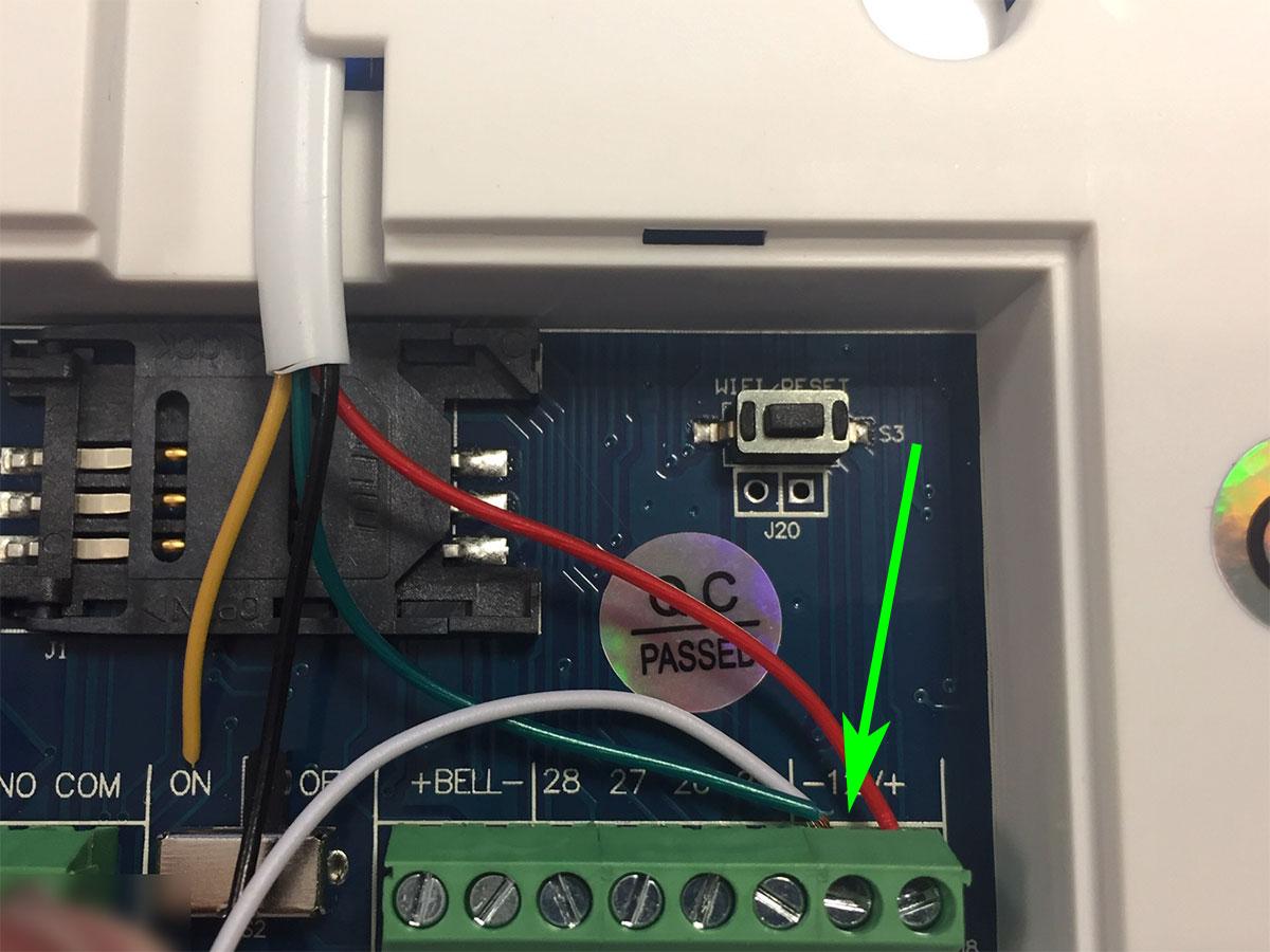 Raccordement fils de transmetteur d'alarme